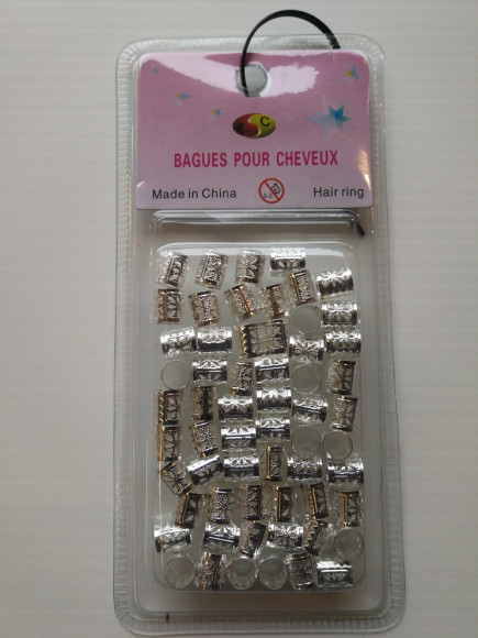 BAGUE COIFFURE - DREADLOCKS ARGENT x60