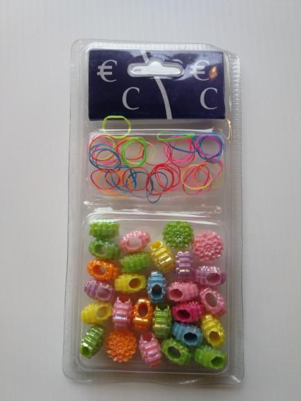 Perles plastique en Fleur avec elastique  x26